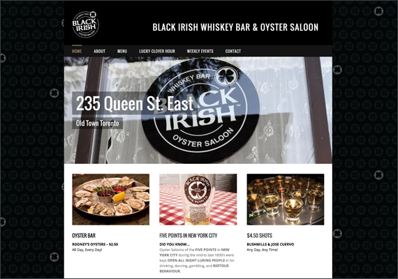 The look and feel for this web site was designed in photoshop and created in Wordpress. <i>www.blackirish.ca</i>