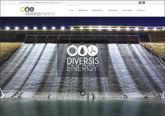 This website was designed and crafted through wordpress in collaboration with j  n' j media, with graphic and technical development by anne sprott. <i>www.diversisenergy.com/</i>