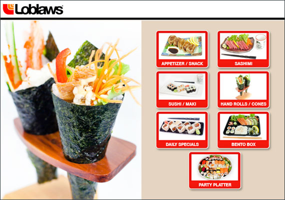 MLG Loblaws self service sushi ordering kiosk. As the Graphic / UI Designer on this project, I was in charge of the front end layout and design in Photoshop / Illustrator. I worked closely with the Developers in the the production of this touch screen application which was executed in Microsoft Expressions / WPF