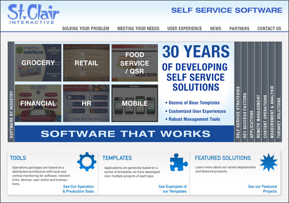 St. Clair Interactive is a company that creates software for touch screen applications. As the Graphic / Web designer on this project, I was in charge of the front end layout and design in Photoshop / Illustrator and executed the production of this website in HTML5/CSS, jQuery and Flash photo slider on the home page.